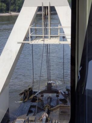 The cutter in the water being repositioned.
